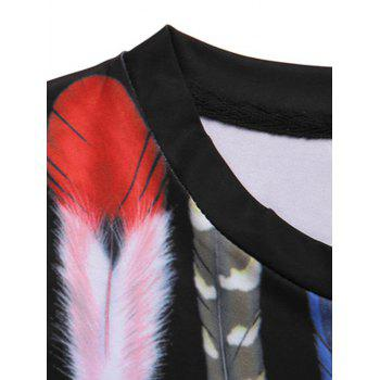 Men's Pullover Feather Printed Round Collar T-Shirt - BLACK 2XL