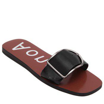 Concise Solid Color and Buckle Design Women's Slippers
