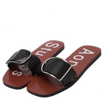 Concise Solid Color and Buckle Design Women's Slippers - BLACK BLACK