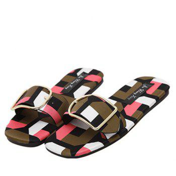 Stylish Multicolor and Geometric Pattern Design Women's Slippers - 38 38