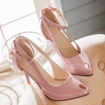 Fashionable Patent Leather and Hollow Out Design Women's Pumps - PINK 34
