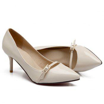 Fashionable Buckle and Patent Leather Design Women's Pumps - OFF WHITE 36
