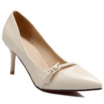 Fashionable Buckle and Patent Leather Design Women's Pumps