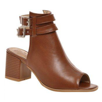 Fashionable Peep Toe and Double Buckle Design Women's Sandals