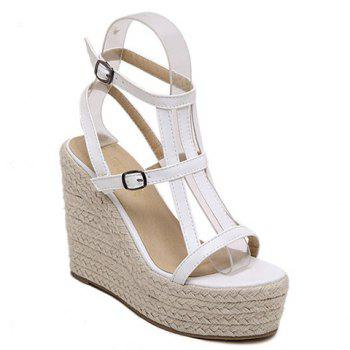 Stylish Double Buckle and Wedge Heel Design Women's Sandals