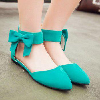 Ladylike Bow and Zipper Design Women's Flat Shoes - GREEN GREEN