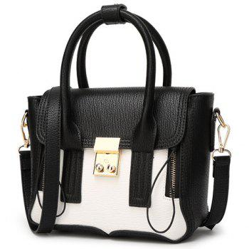 Fashion Color Block and Hasp Design Women's Tote Bag - WHITE/BLACK