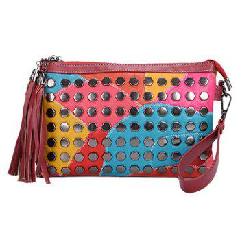 Casual Rivets and Tassel Design Women's Crossbody Bag
