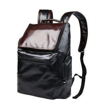 Preppy Style Color Block and Zip Design Men's Backpack -  BLACK
