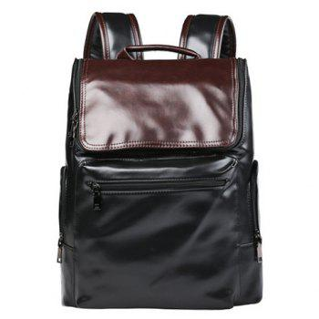 Preppy Style Color Block and Zip Design Men's Backpack