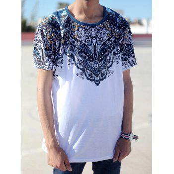 Vintage Round Neck Totem PrintShort Sleeve Men's Fitted T-Shirt