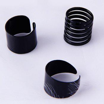 3 Pcs/Set Spring Knuckle Cuff Rings - BLACK