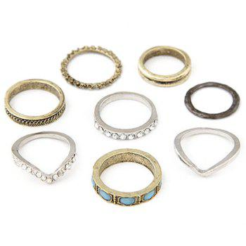8 Pcs/Set Rhinestone Embossed Rings