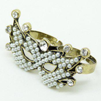 Faux Pearl Rhinestone Mask Double Fingers Ring - GOLDEN