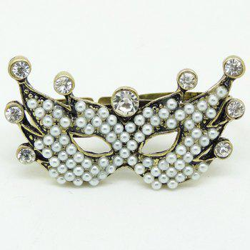 Faux Pearl Rhinestone Mask Double Fingers Ring