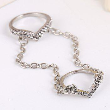 Rhinestoned Chain Ring