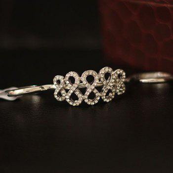 Rhinestoned Number Double Fingers Ring