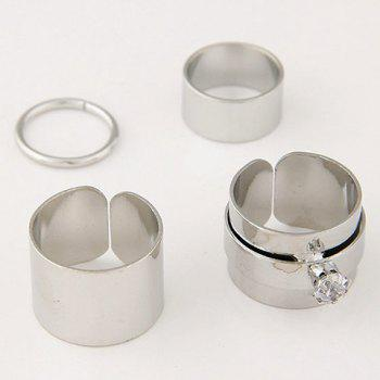 4 Pcs/Set Gold Plated Rhinestone Opening Rings