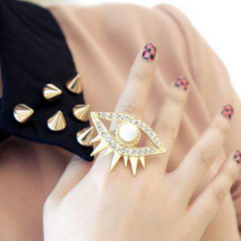 Rhinestone Faux Pearl Eye Ring