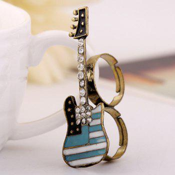 Rhinestoned Guitar Star Double Fingers Ring