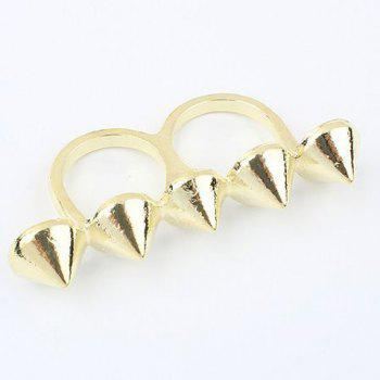 Pointed Cone Double Fingers Ring