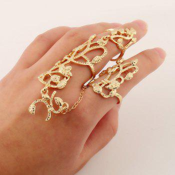 Leaf Flower Hollow Out Double Full Fingers Ring - GOLDEN