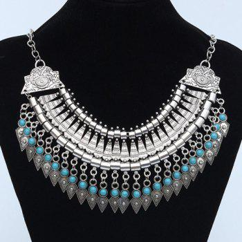 Faux Turquoise Carving Geometric Fringed Necklace - SILVER SILVER