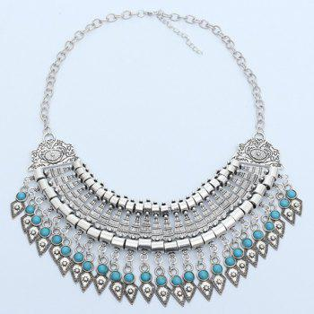 Faux Turquoise Carving Geometric Fringed Necklace -  SILVER