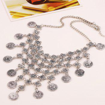 Retro Silver Flower Hollow Out Carving Coin Necklace - SILVER