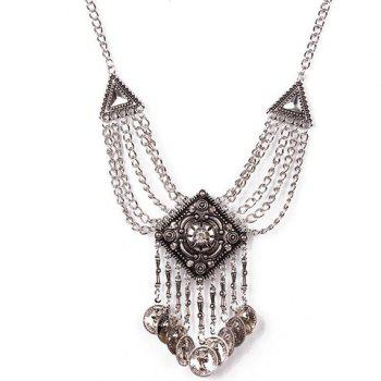 Triangle Rhombus Coin Tassel Necklace