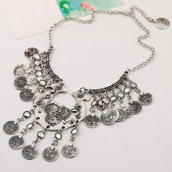 Coin Tassel Carving Necklace - SILVER