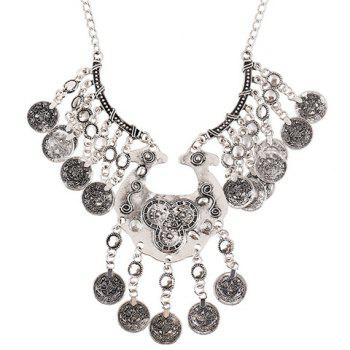 Coin Tassel Carving Necklace - SILVER SILVER