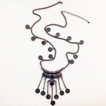 Gorgeous Faux Gem Carving Coin Tassel Sweater Chain For Women