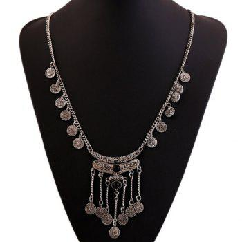 Gorgeous Faux Gem Carving Coin Tassel Sweater Chain For Women -  BLACK