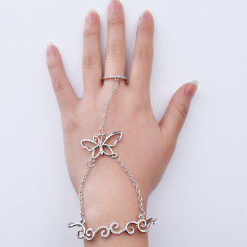 Retro Rhinestone Rattan Butterfly Bracelet with Ring
