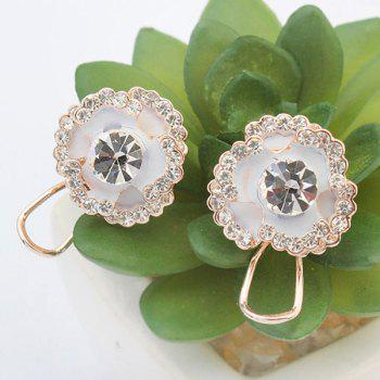 Pair of Blossom Rhinestone Stud Earrings -  WHITE