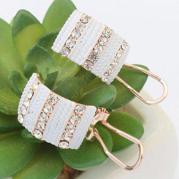 Pair of Rhinestone Alloy Geometric Earrings - WHITE