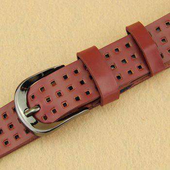 Chic Hollow Small Checkered Pin Buckle Women's Belt - RED RED