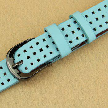 Chic Hollow Small Checkered Pin Buckle Women's Belt - LIGHT BLUE LIGHT BLUE