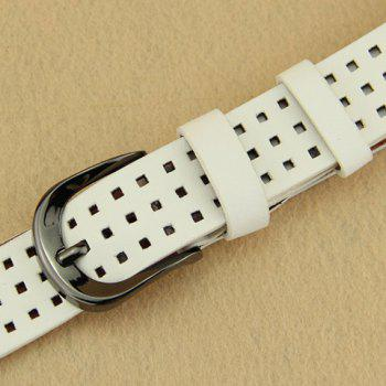 Chic Hollow Small Checkered Pin Buckle Women's Belt - WHITE WHITE