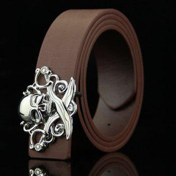 Stylish Skull and Broadsword Shape Embellished Men's Belt - COFFEE COFFEE
