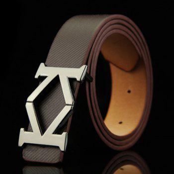 Stylish Aspectant Letter K Shape Alloy Embellished Men's Belt - COFFEE COFFEE