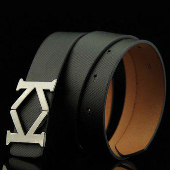 Stylish Aspectant Letter K Shape Alloy Embellished Men's Belt -  BLACK