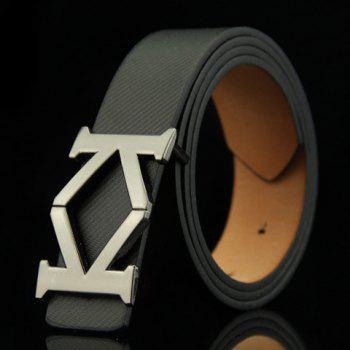 Stylish Aspectant Letter K Shape Alloy Embellished Men's Belt - BLACK BLACK
