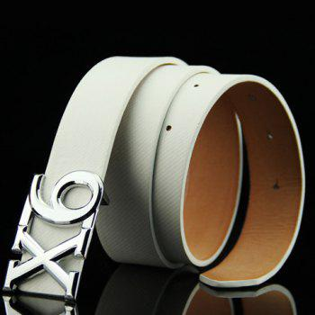 Stylish Letter X and Number 6 Shape Alloy Embellished Men's Belt - WHITE