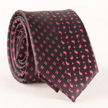 Stylish Rose Color Small Rhombus and Paisley Jacquard Men's Tie - BLACK