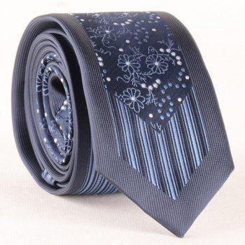 Stylish Flower Polka Dot Verticle Stripe Jacquard Men's Tie - CADETBLUE