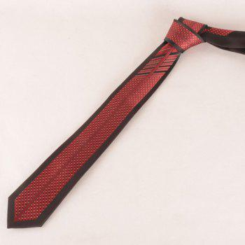 Stylish Small Dot and Stripe Jacquard Men's Red and Black Tie