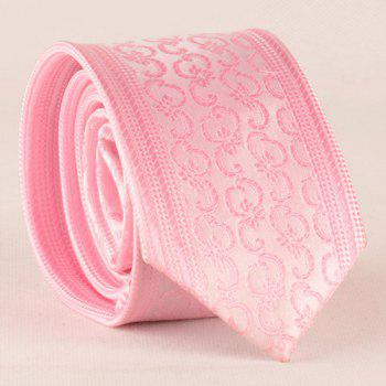 Stylish Men's Jacquard Pink Tie - PINK