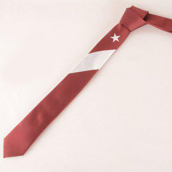 Stylish White Five-Pointed Star and Stripe Pattern Men's Red Tie